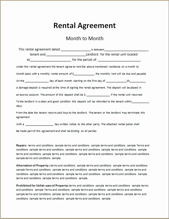 Rent to Own Contract Templates Unique Rent to Own Contract