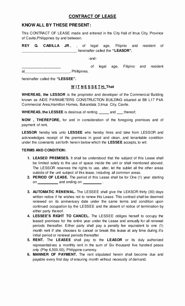 Rent to Own Contracts Templates Elegant Contract Of Lease 1