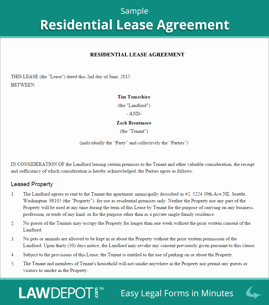 Rent to Own Contracts Templates Elegant Residential Lease Agreement