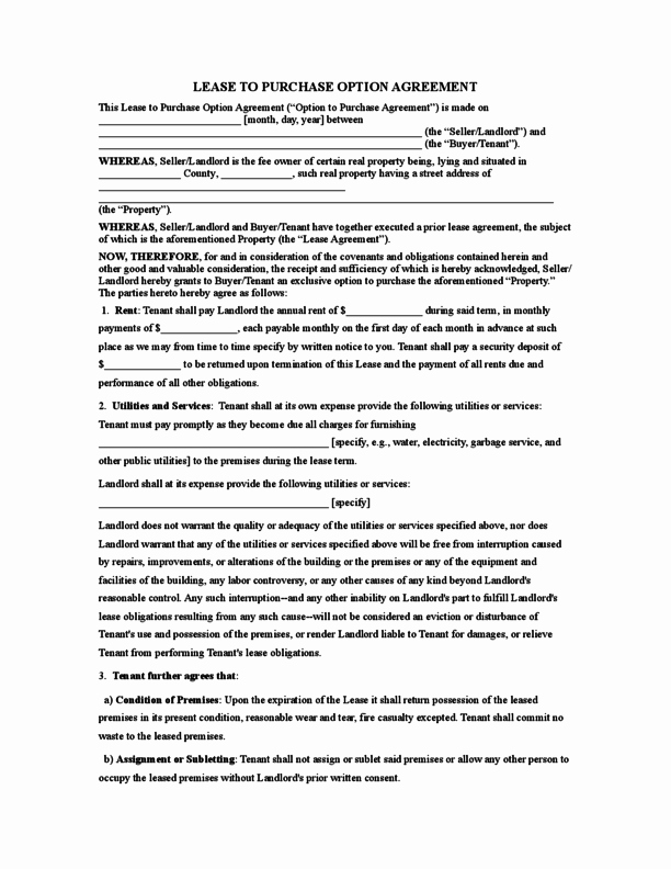Rent to Own Contracts Templates New Rent to Own Agreement form