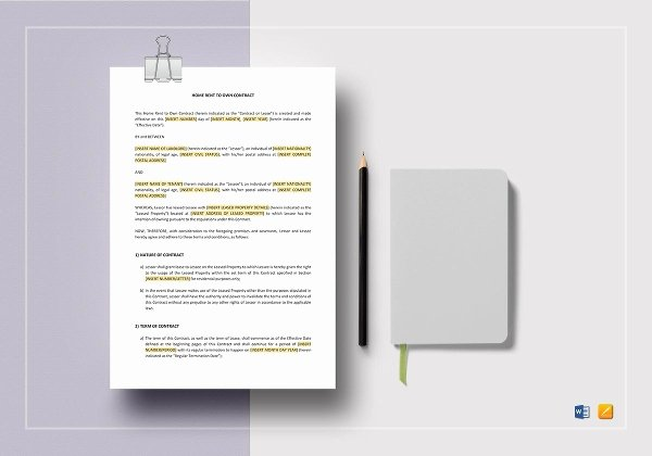 Rent to Own Contracts Templates New Rent to Own Contract Template 9 Word Pdf Documents