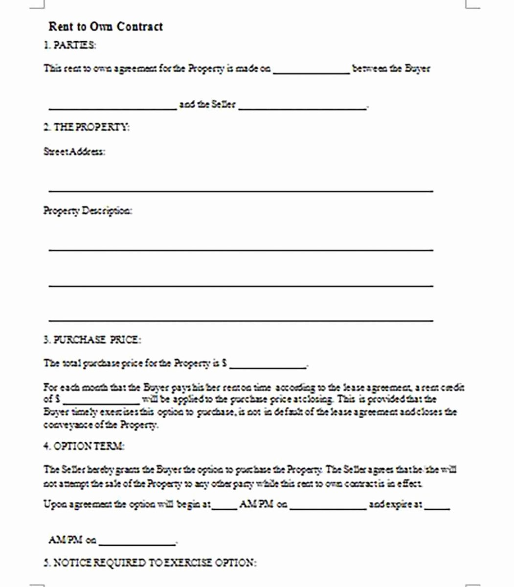 Rent to Own Contracts Templates New Rent to Own Contract Templates – Quick Learning and Making
