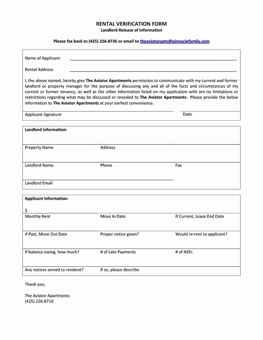 Rental Verification form Template Awesome 29 Rental Verification forms for Landlord or Tenant