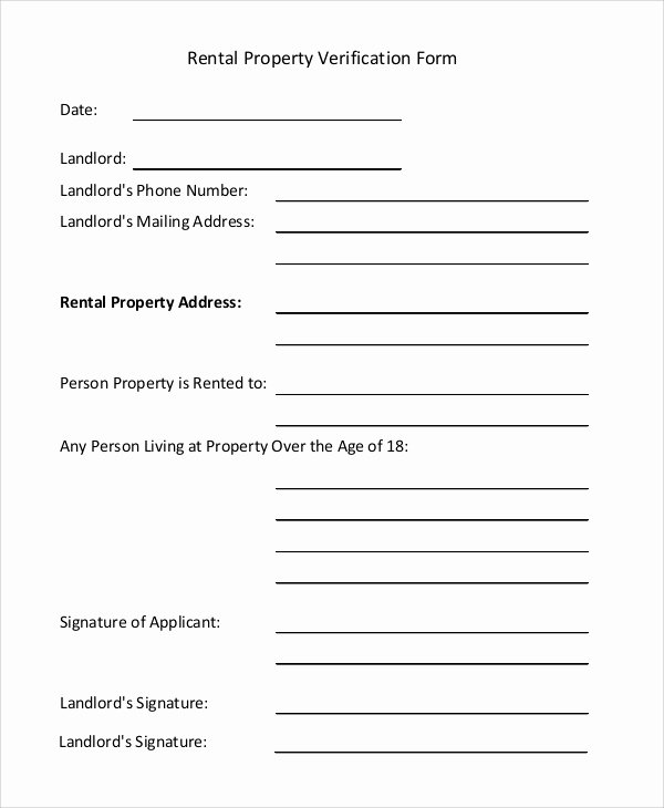 Rental Verification form Template Awesome Sample Rental Verification form 10 Examples In Pdf Word