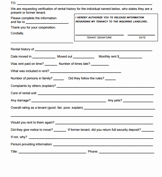 Rental Verification form Template Best Of 5 Rental Verification forms Word Excel Templates