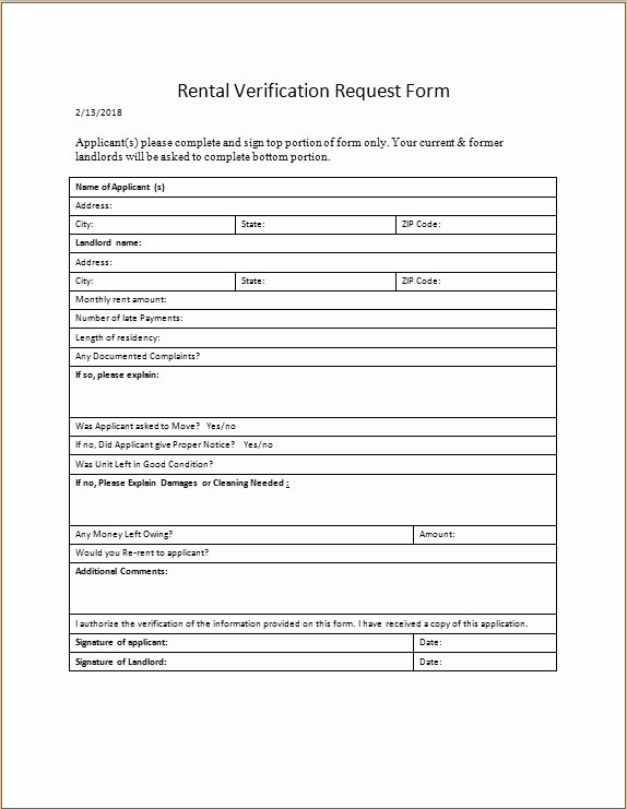 Rental Verification form Template Elegant Rental Verification Request form