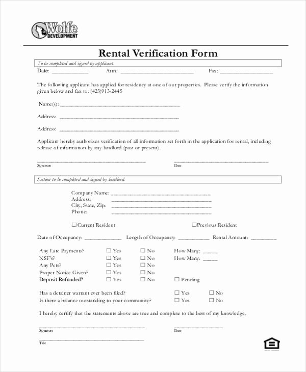 Rental Verification form Template Elegant Verification form Templates