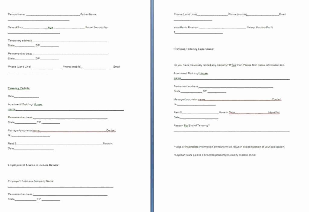 Rental Verification form Template Fresh Tenant Verification form Template Free formats Excel Word