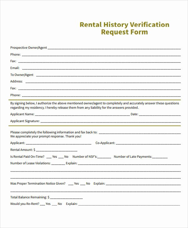 Rental Verification form Template Lovely Verification form