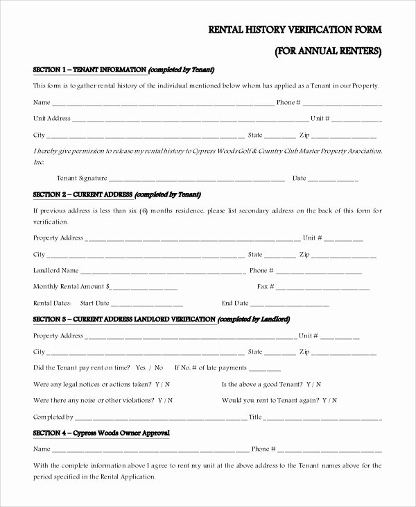 Rental Verification form Template Unique Sample Rental Verification form 10 Examples In Pdf Word