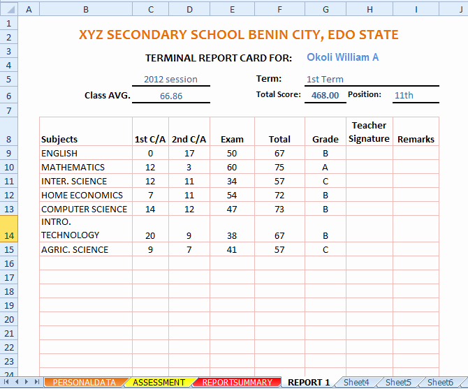 Report Card Template Excel Awesome Automated Excel Sheets for Schools Result Putation
