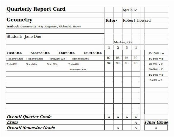 Report Card Template Excel Elegant Sample Homeschool Report Card 7 Documents In Pdf Word