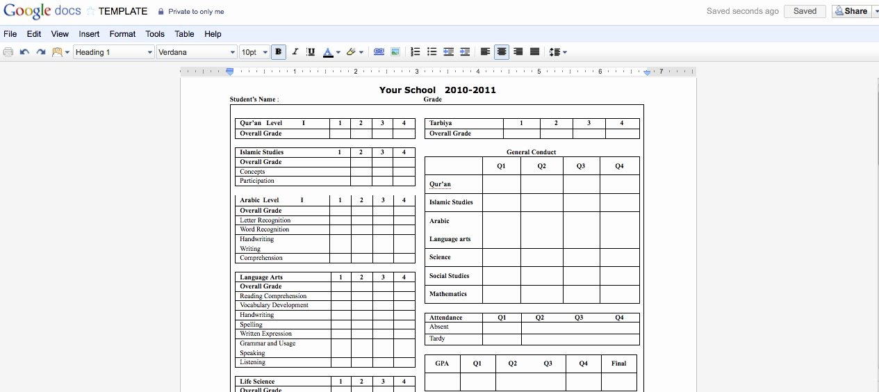 Report Card Template Excel Fresh Best S Of Report Card Template School Report Card