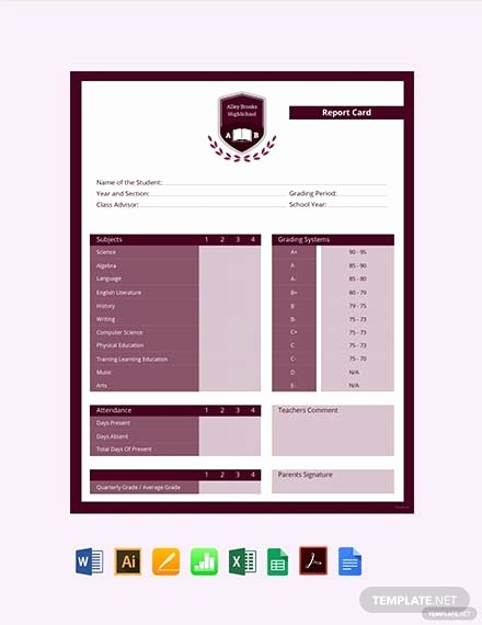 Report Card Template Excel New Free Kindergarten Report Card Template Download 337