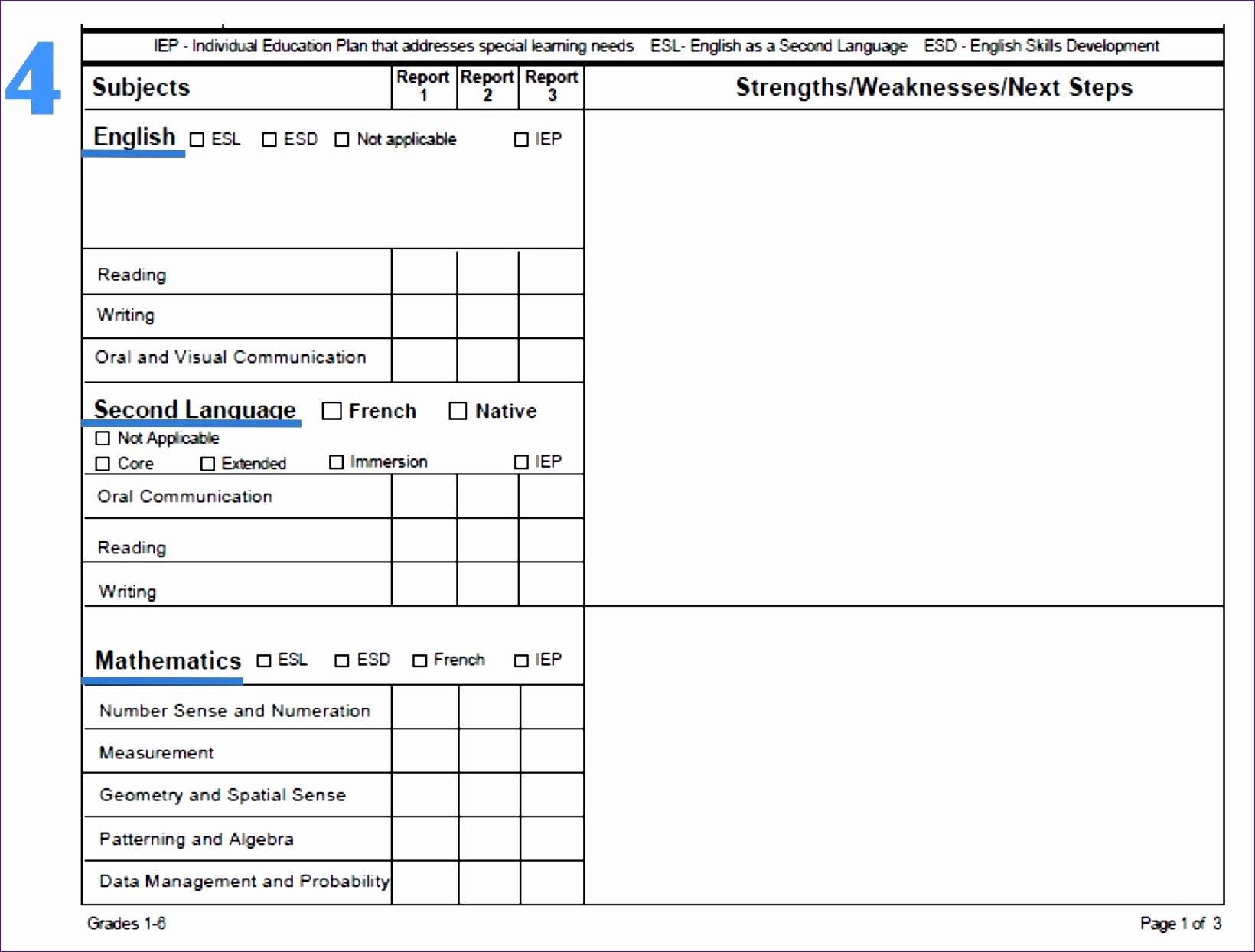 Report Card Template Excel Unique 7 Microsoft Excel Report Card Template Exceltemplates