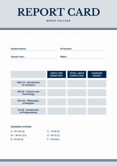 Report Card Template Word Beautiful Customize 134 College Report Card Templates Online Canva