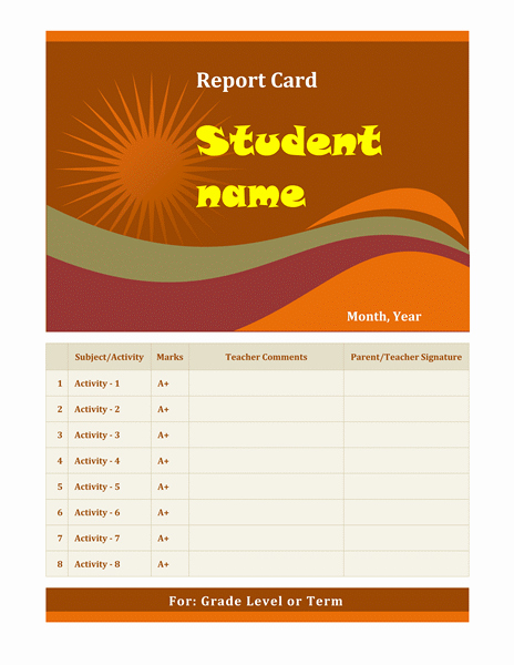 Report Card Template Word Elegant Cards Fice