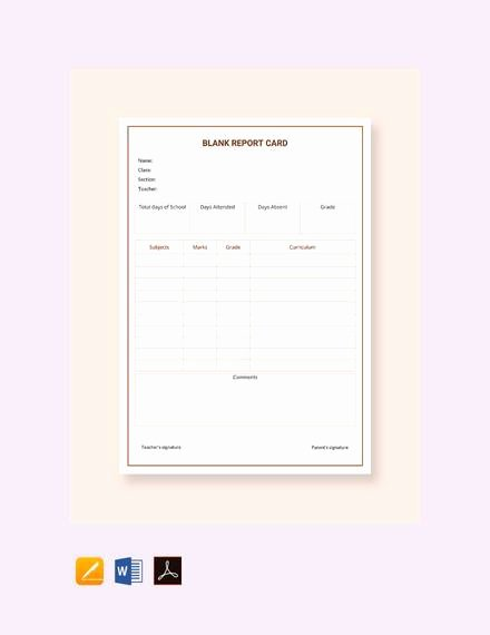 Report Card Template Word Elegant Free 14 Sample Report Cards In Pdf Word Excel