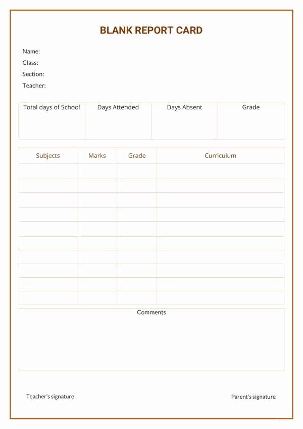 Report Card Template Word Fresh 17 Report Card Template 6 Free Word Excel Pdf