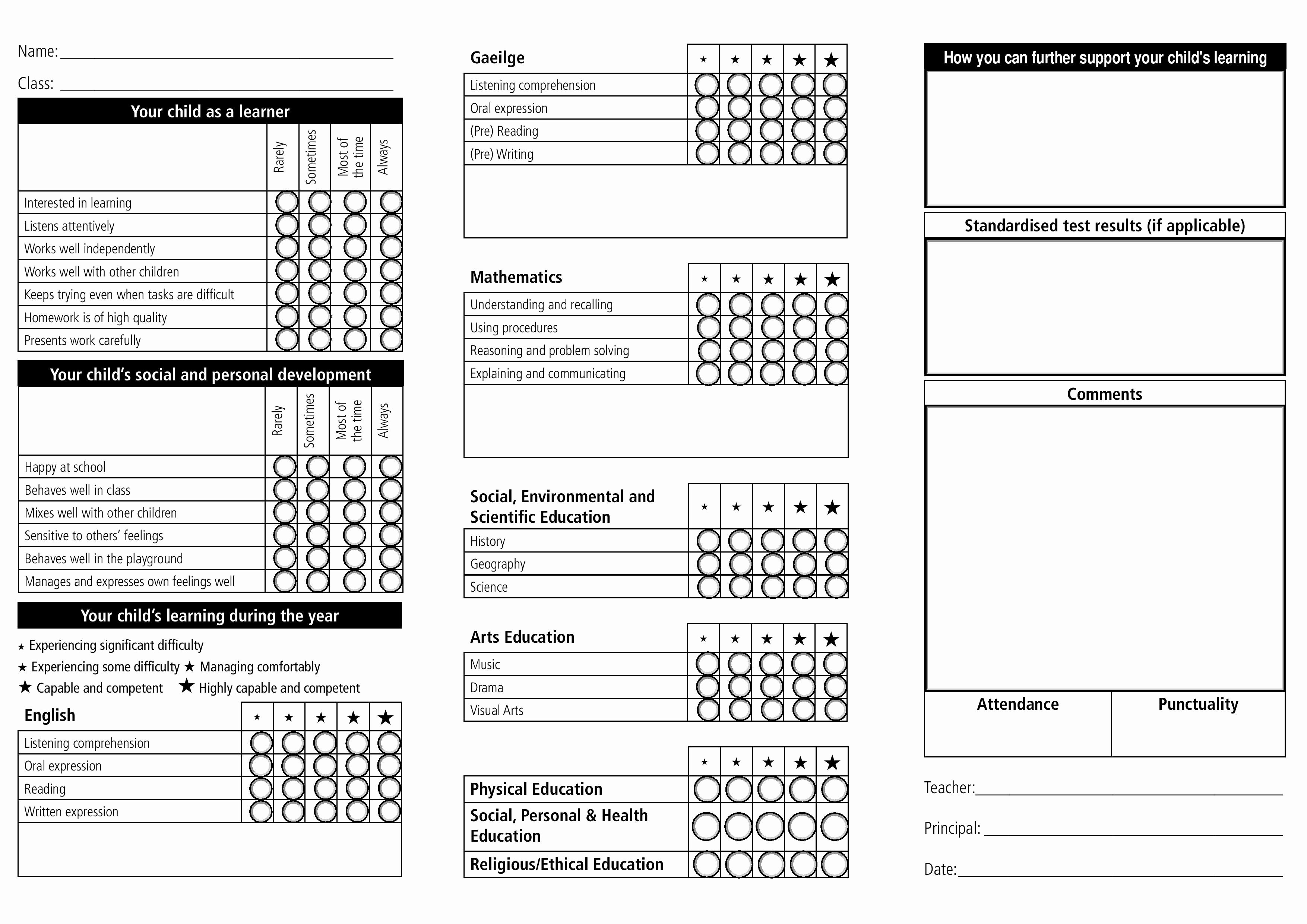 Report Card Template Word Unique Report Card Template 33 Free Word Excel Documents