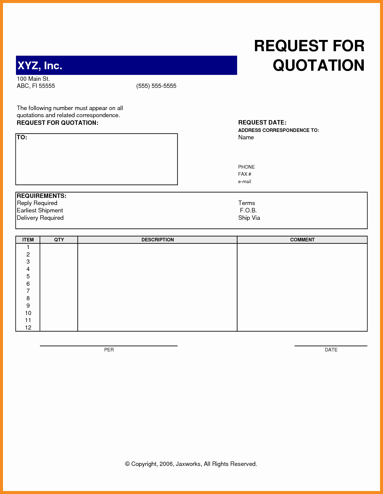 Request for Quote Template Excel Awesome Request for Quote Template