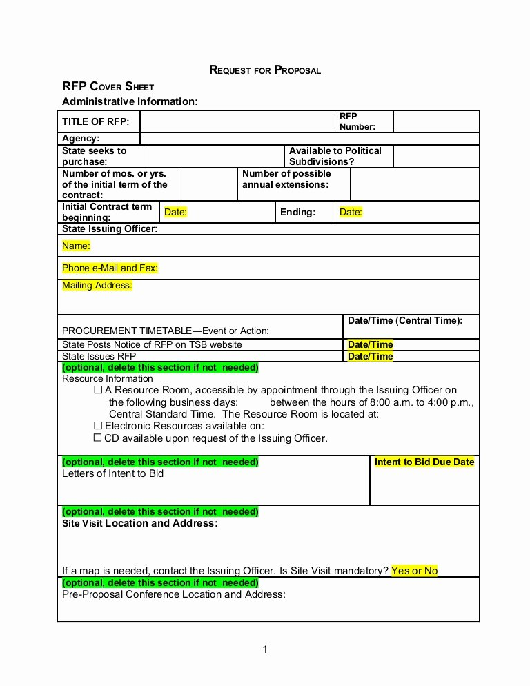 Request for Quote Template Excel New Rfp Template Word Document