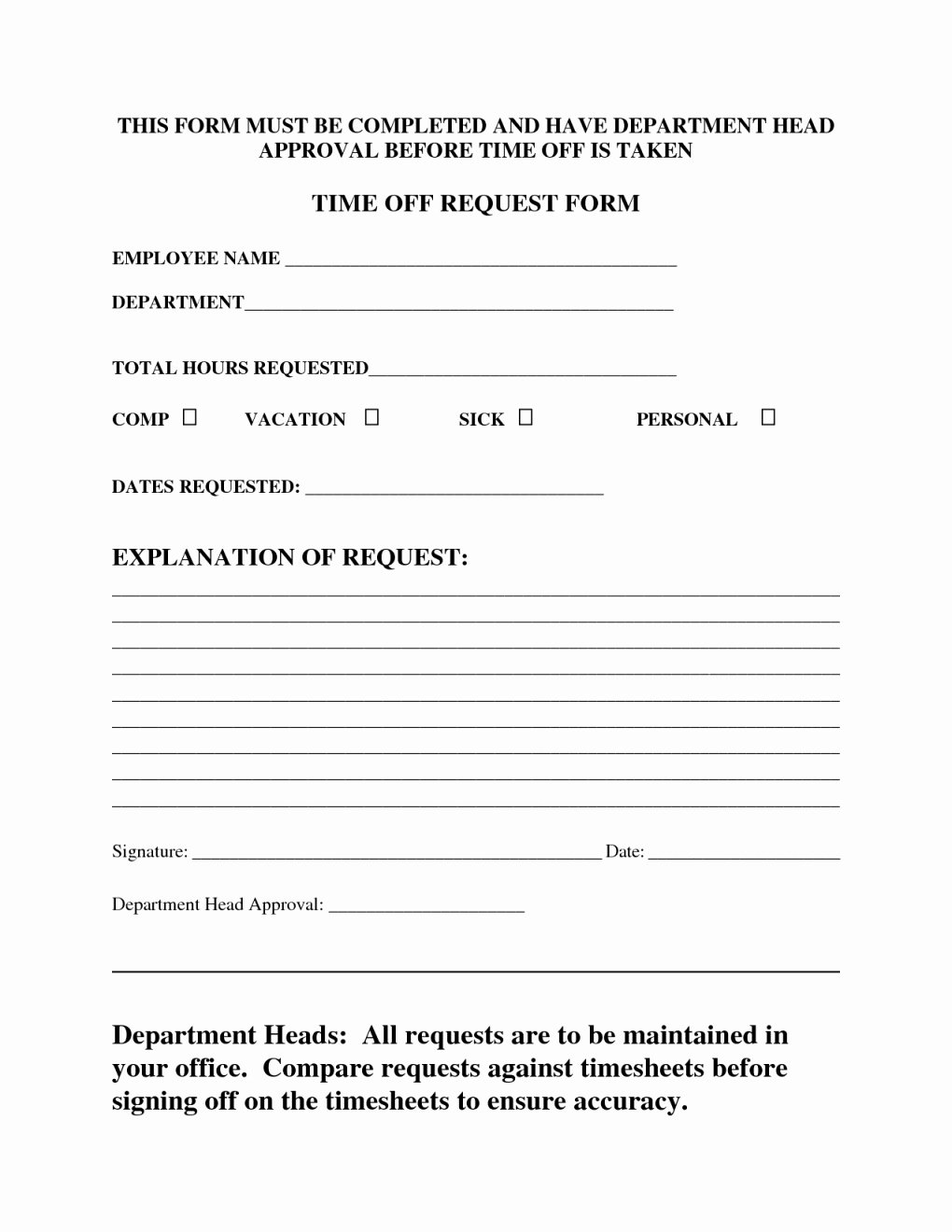 Request Time Off Template Awesome Paid Time F form