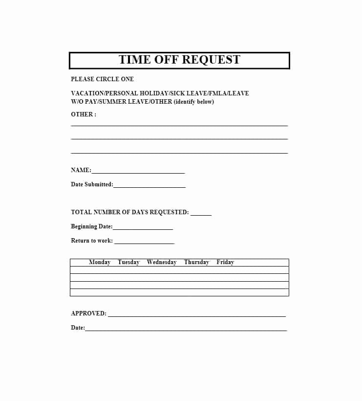 Request Time Off Template Beautiful 40 Effective Time F Request forms & Templates