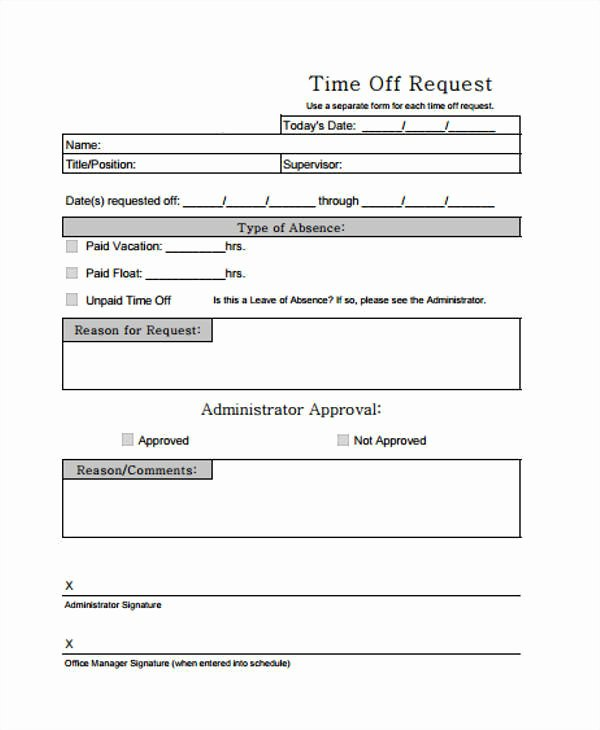 time off request form in pdf