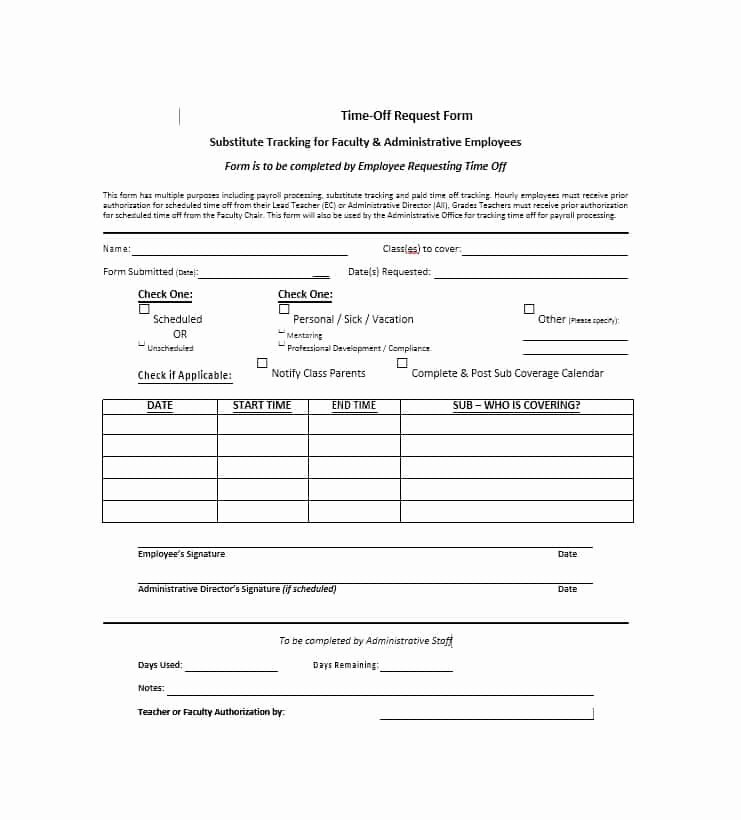 Request Time Off Template Best Of 40 Effective Time F Request forms & Templates
