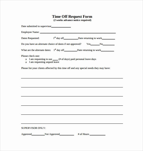 Request Time Off Template Best Of Sample Time F Request form 23 Download Free Documents
