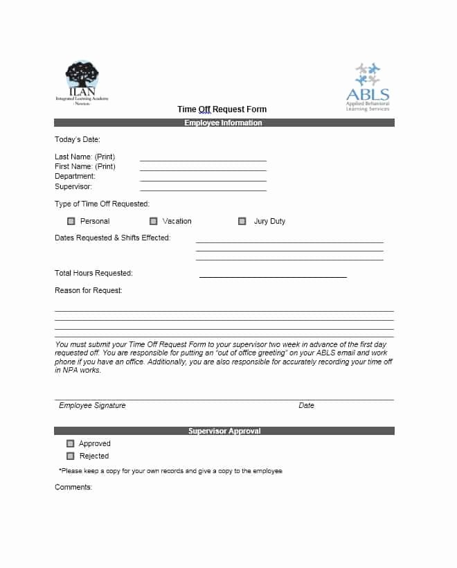 Request Time Off Template Elegant 40 Effective Time F Request forms & Templates