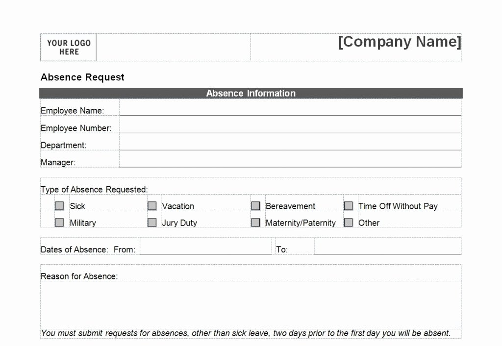 Request Time Off Template Fresh Time F Request form Template Microsoft