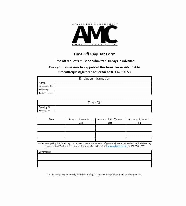 Request Time Off Template Inspirational 40 Effective Time F Request forms & Templates
