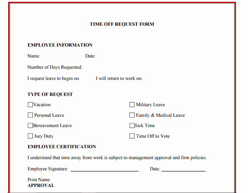 Request Time Off Template New 10 Time F Request form Templates Excel Templates