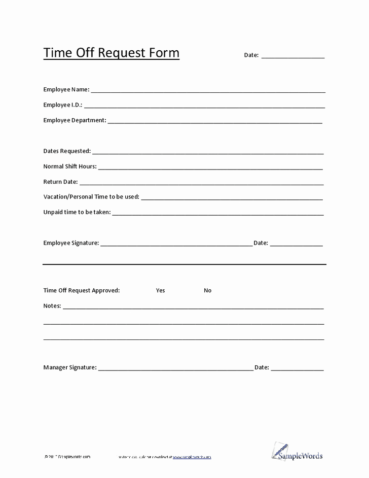 Request Time Off Template New 20 Of Time Request form Template