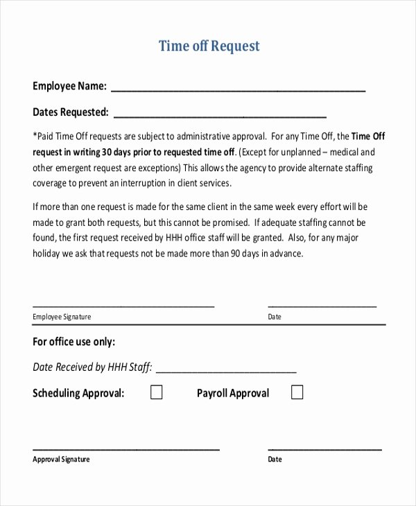 Request Time Off Template Unique Free 12 Sample Time F Request forms In Pdf