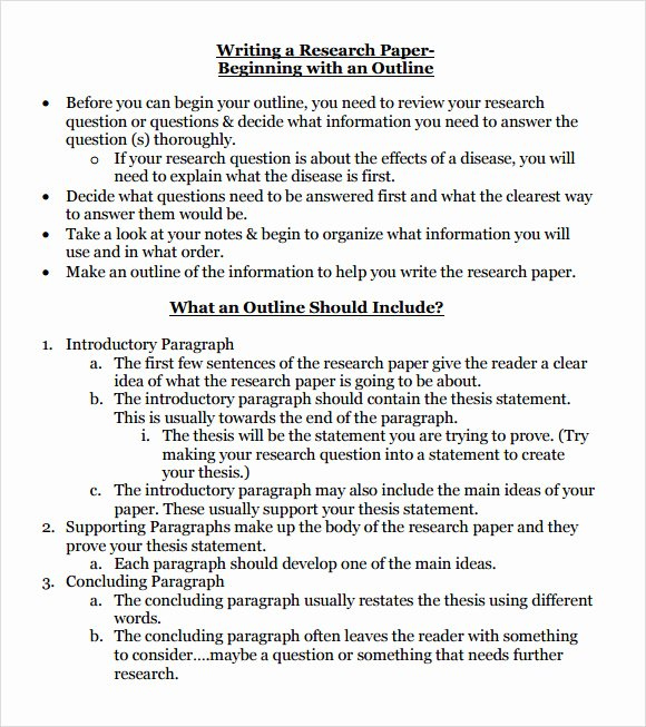 Research Paper Outline Templates Beautiful 10 Sample Research Paper Outline Templates to Download