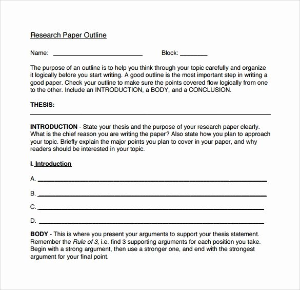 Research Paper Outline Templates Beautiful Printable Research Paper Outline Template