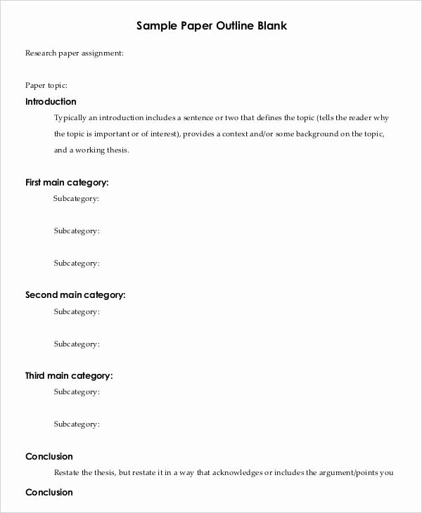 Research Paper Outline Templates Elegant Printable Research Paper Outline Template 8 Free Word