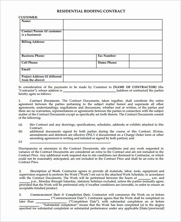 Residential Construction Contract Template Free Beautiful 15 Roofing Contract Templates Word Pdf Google Docs