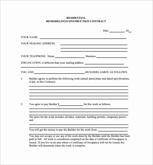 Residential Construction Contract Template Free Beautiful 9 Home Remodeling Contract Templates Word Pages Docs