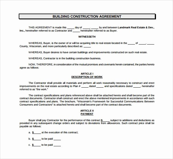 Residential Construction Contract Template Free Best Of 19 Construction Agreement Templates Word Pdf Pages