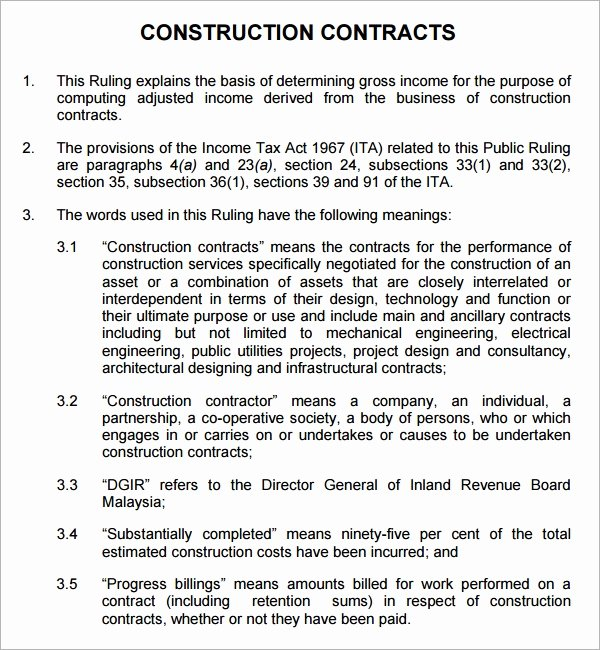 Residential Construction Contract Template Free Fresh Construction Contract 7 Free Pdf Download