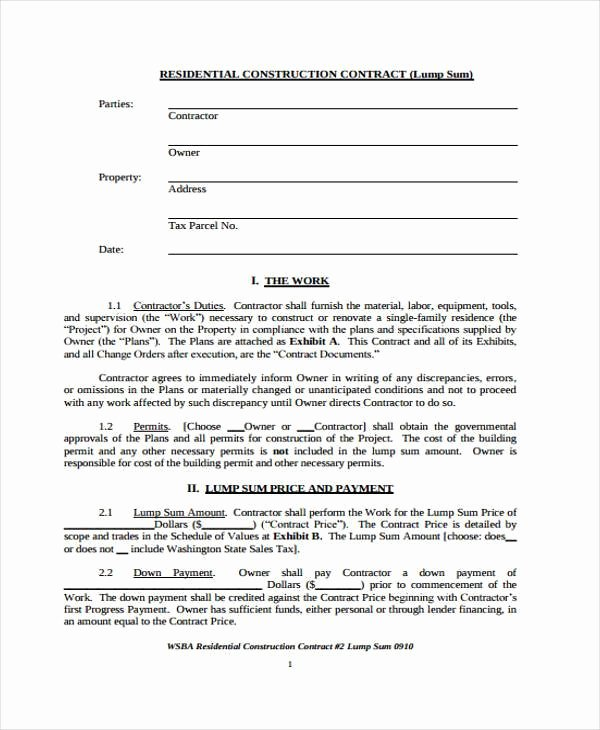 Residential Construction Contract Template Free Inspirational 38 Sample Free Contract forms