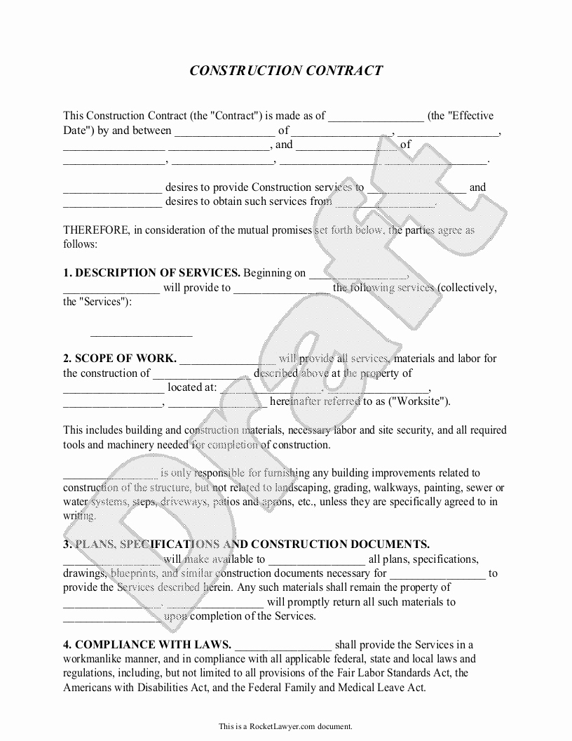 Residential Construction Contract Template Free Inspirational Construction Contract Template Construction Agreement