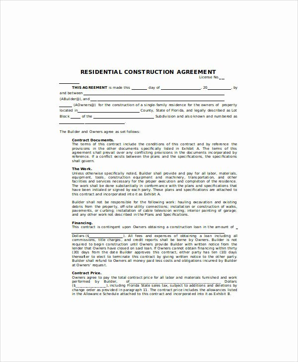 Residential Construction Contract Template Free Inspirational Sample Contract Agreement 34 Examples In Word Pdf