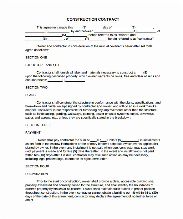 Residential Construction Contract Template Free New 8 Construction Contract Template Considering Basic