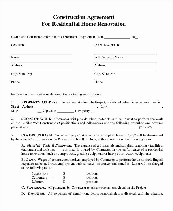 Residential Construction Contract Template Free Unique Free 48 Contract Agreement Templates In Pages