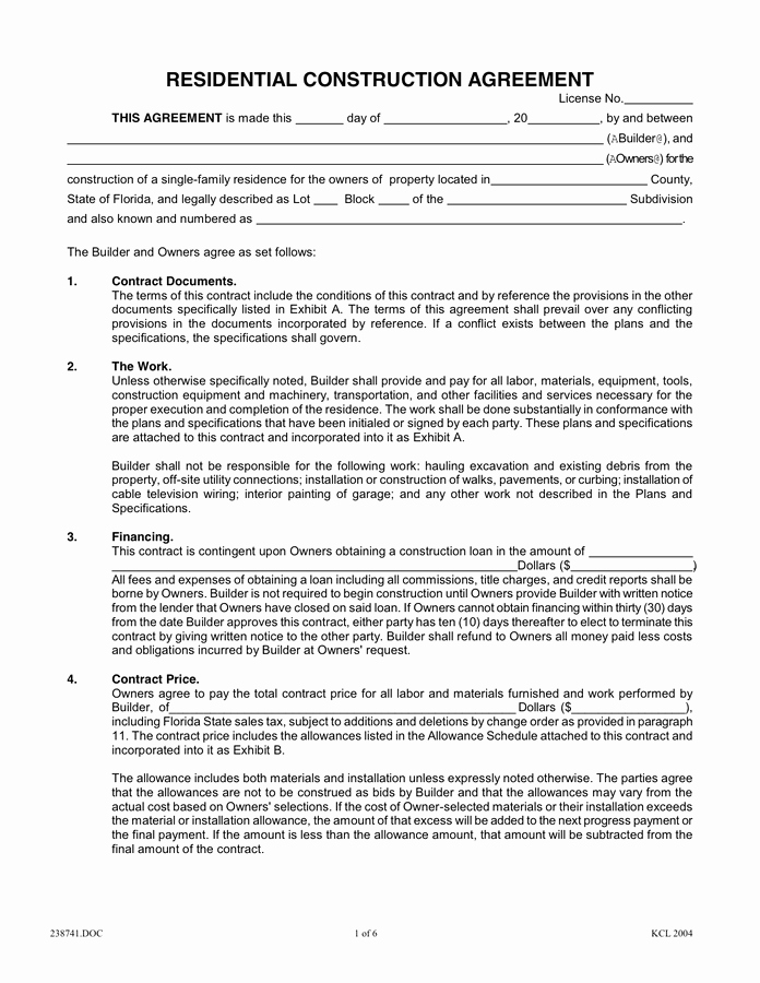 Residential Construction Contract Template Free Unique Residential Construction Agreement In Word and Pdf formats